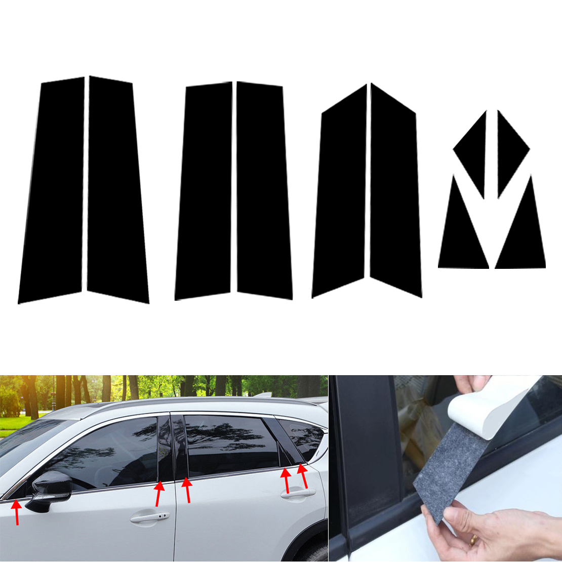 DWCX 10pcs Black Car Door Window Pillar Posts Piano Trim Cover Kit Fit For Mazda CX-5 CX5 2017 2018