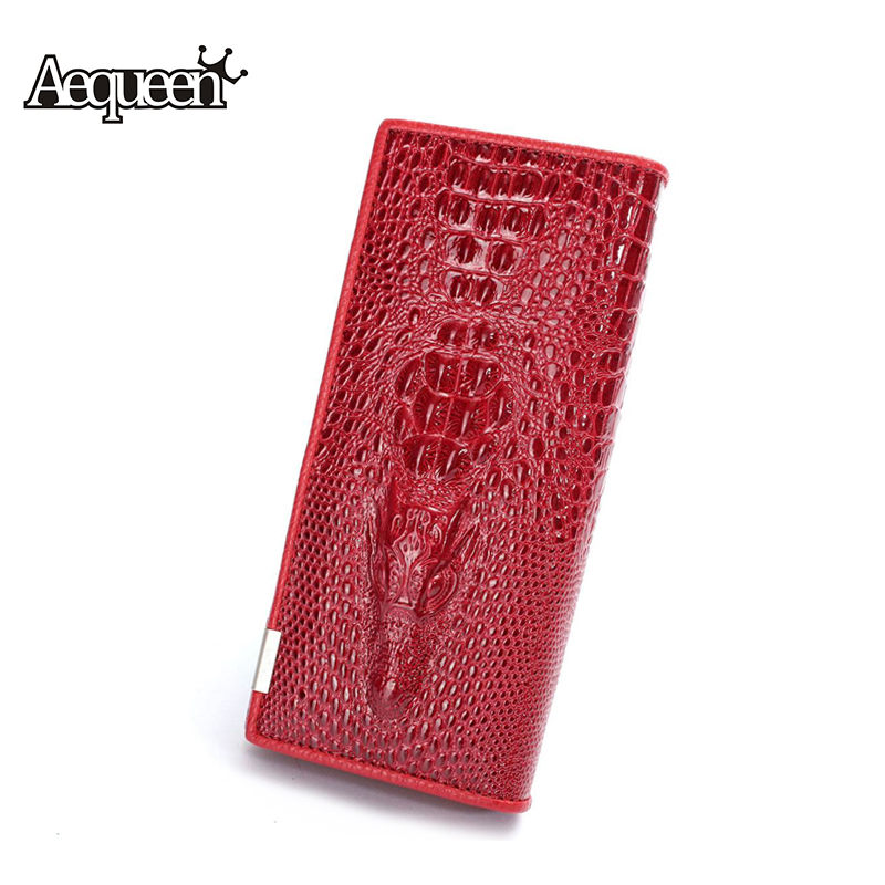 Aequeen 3d Crocodile Grain Leather Women Wallets Alligotar