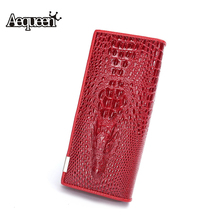 AEQUEEN 3D Crocodile Grain Women Wallets Leather Embossed Design New Drawout billetera Female Long Wallet Clutch Purses Carteira