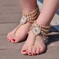 Trendy Vintage Luxury Crystal Anklets Summer Days Beach/Wedding Barefoot Jewelry Maxi Ankle Toe Long Chain for Women Girls