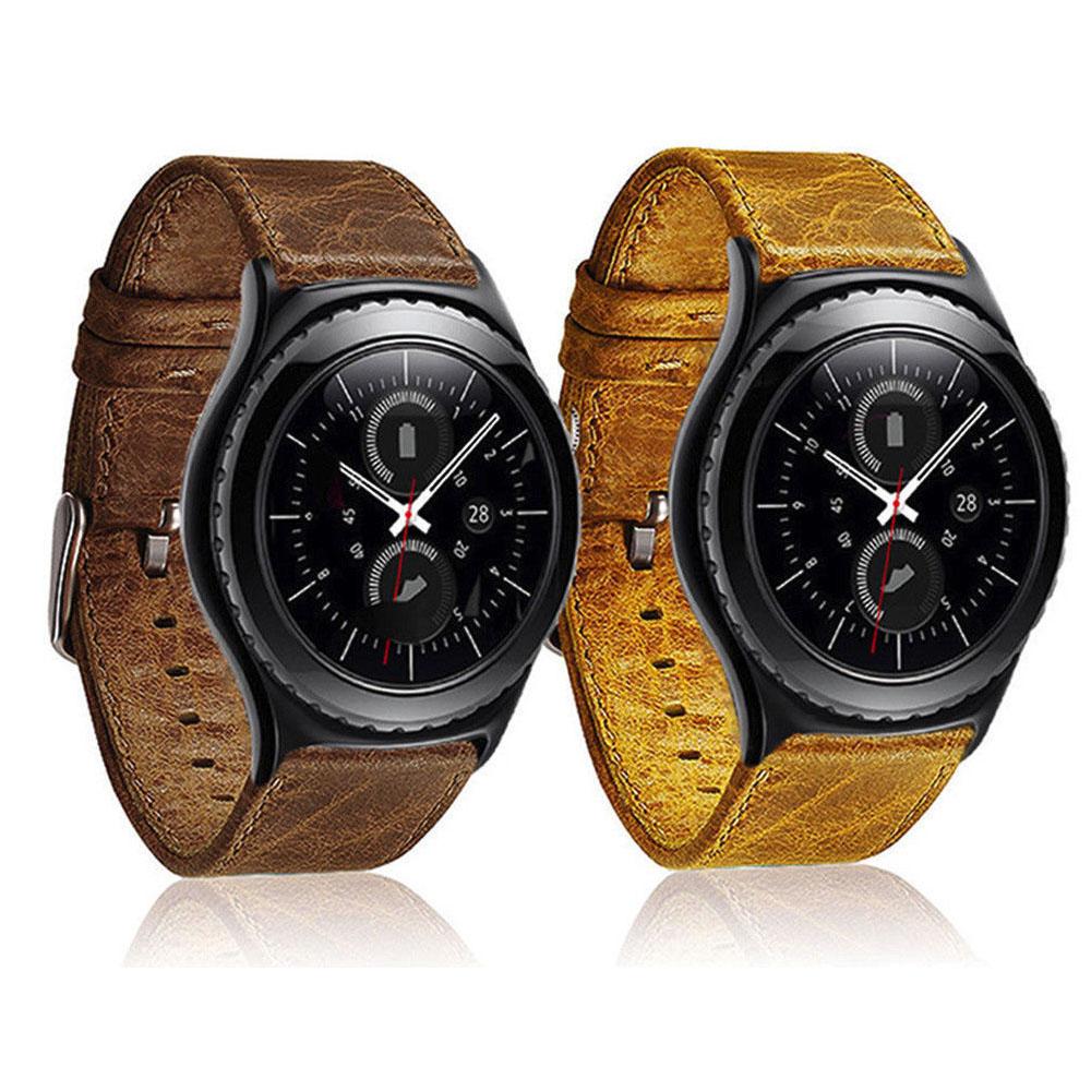 Prix pour 22mm Rétro Véritable Bracelet En Cuir pour Samsung Gear S3 Montre bande pour les Engins S3 Classique S3 Frontière Boucle En Métal Bracelet ceinture