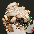 Hot selling>@@ Wholesale price S ^^^^ Party Fashion Multi-Colored Glaze Frog Ring GP use Crystal -Bride jewelry free shippin