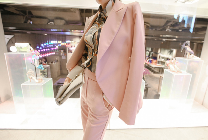 Fashion Pink Set Women Suit Single Button Notched Blazer & High Waisted Pants