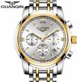 Мужские кварцевые часы GUANQIN  большой циферблат Hardlex с защитой от царапин  светящиеся часы с датой  модные наручные часы  2019