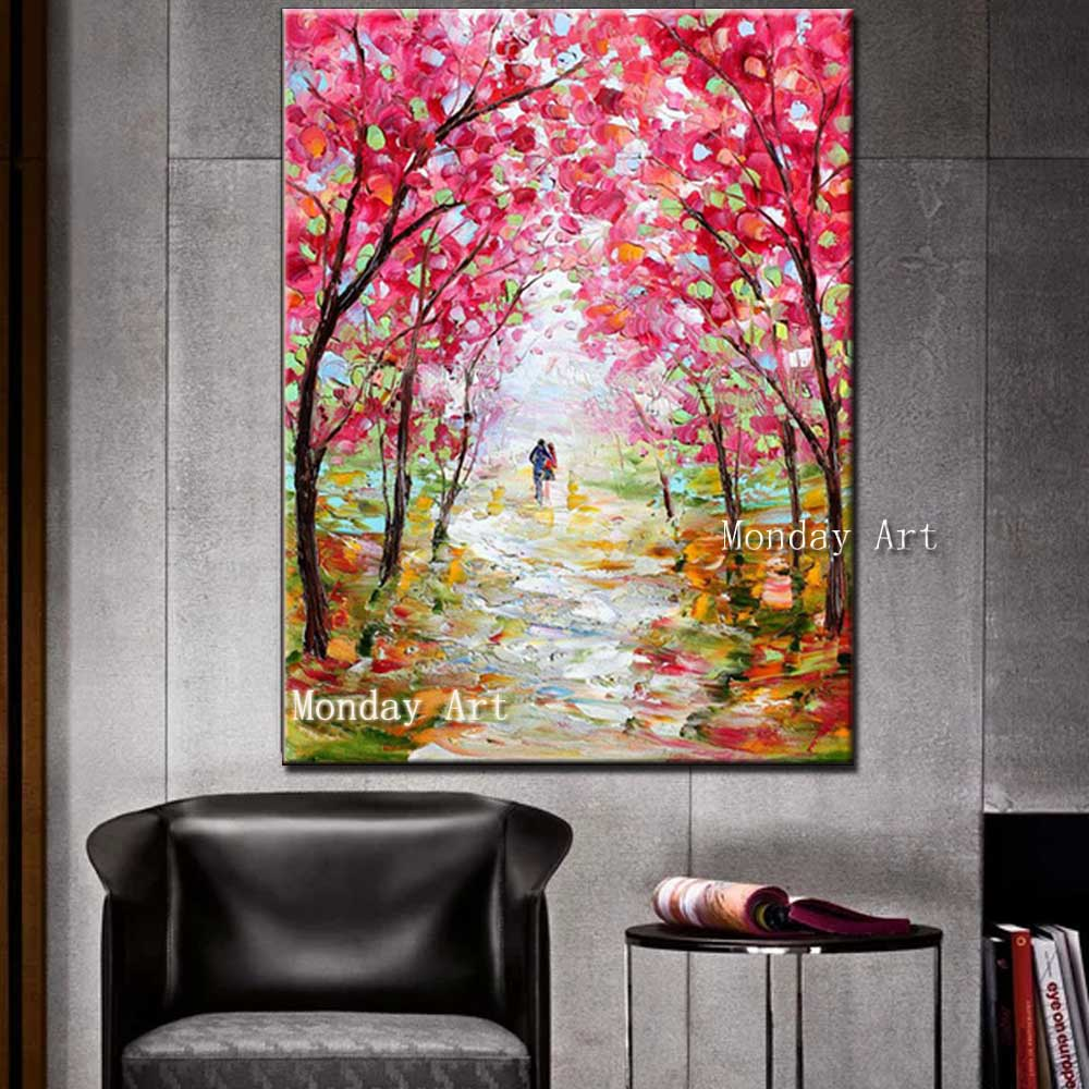 Hand-Painted-Abstract-Pink-Flower-Palette-Knife-Landscape-Oil-Painting-Wall-Picture-Living-Room-Home-Wall (2)