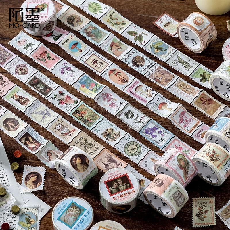 25mm Vintage Stamp Masking Washi Tape Scrapbooking Creative DIY Bullet Journal Decorative Adhesive Tape Seal Stationery Supplies