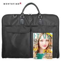 2016 Waterproof Black Nylon Zipper Garment Bag With Hanger Clamp Lightweight Suit Bag Durable Business Men
