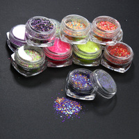 12 Colors Glitter Powder Nail Foil Nail Art Transfer Sticker Decals DIY Manicure Decoration For Transfer
