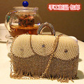 2017 Fashion Diamond Pearl Women's Handbag Vintage Tassel Messenger Bag Hot Sale Wedding Bridal Party Feast Bag With Chains