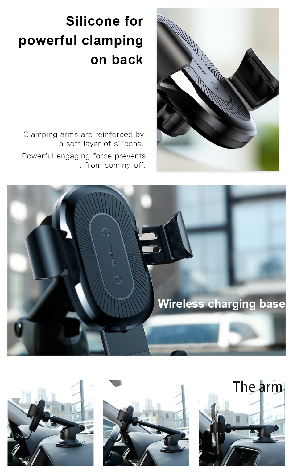 Baseus Wireless Car Charger For iPhone Xs Max Xr X 8 Samsung Note 9 Qi Wireless Charger Fast Wirless Charging Car Phone Holder 25