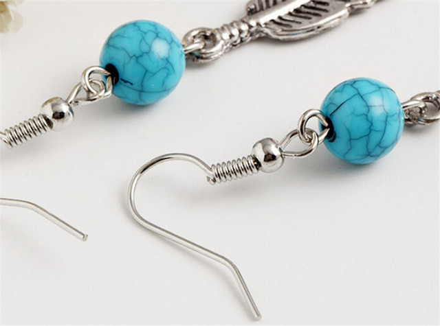 Cheap Silver Feather Earrings