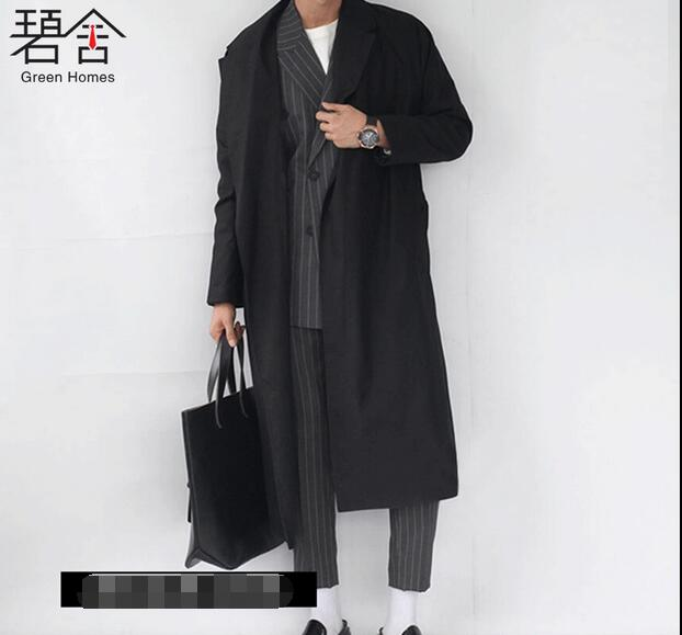 2017 Men's clothing autumn and winter long design lacing cashmere overcoat street loose slim wool coat outerwear xS-3XL