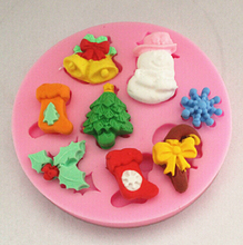 2016 NEW Hot Cartoon beautiful Christmas silicone mold Fondant Cake Decorating Tools Silicone Mold Free Shipping