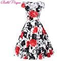 Mujeres summer dress 2016 algodón de la flor hueco retro de la vendimia de manga corta polka dots patrón floral corto 60 s 50 s vestidos