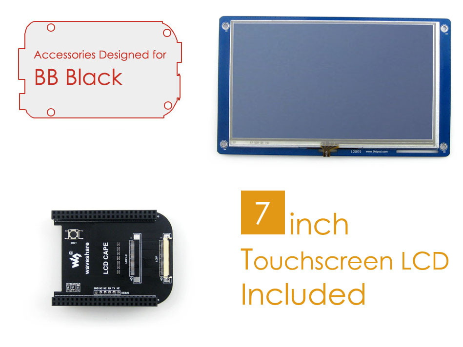 BeagleBone Black Rev C Accessories Pack D=LCD Connection Cape+ 7inch LCD+ Cables for Connecting ARM Cortex-A8 Development Board cubieboard a8 1gb arm cortex a8 development board w sata usb to tll serial cable white