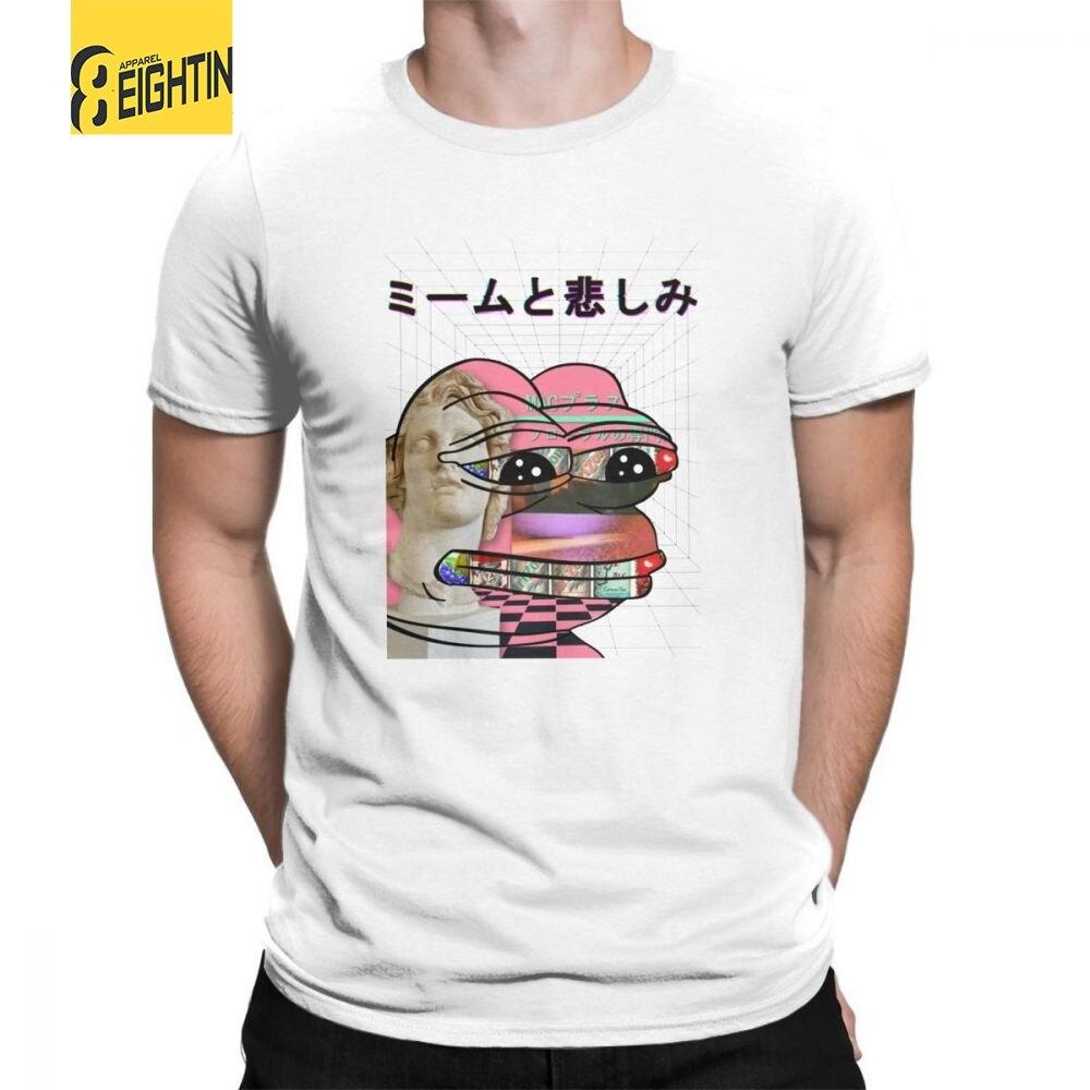 Vaporwave T-Camicette Memi e Tristezza T Camicette Maniche Corte In Cotone 100% Stampato Divertente Tee Shirt Girocollo mens Grande Formato Fresco