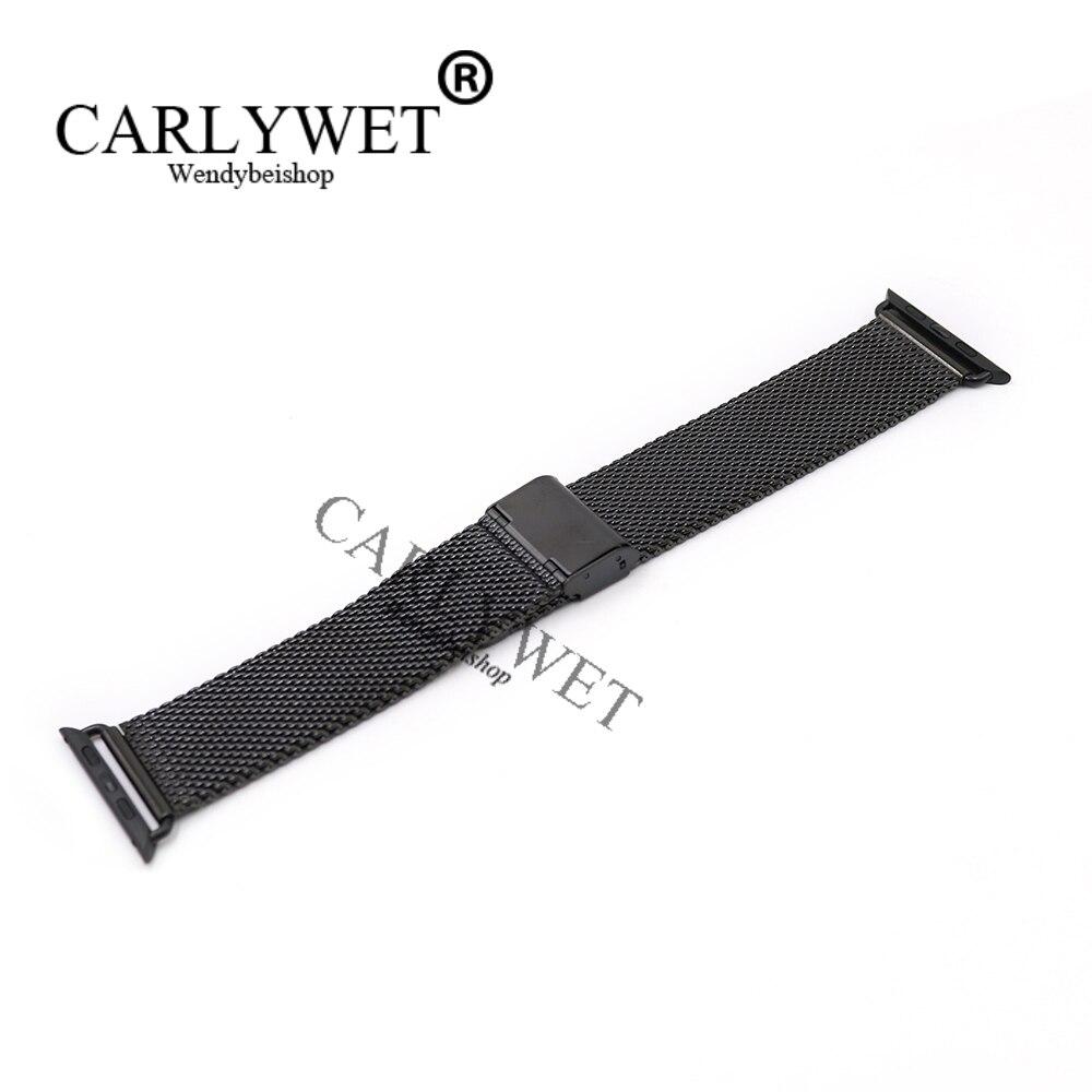 CARLYWET 38 42mm En Gros Connecteur Adaptateur Noir Maille Épaisse Inoxydable Bracelet En Acier Bracelet Pour Apple Montre iWatch