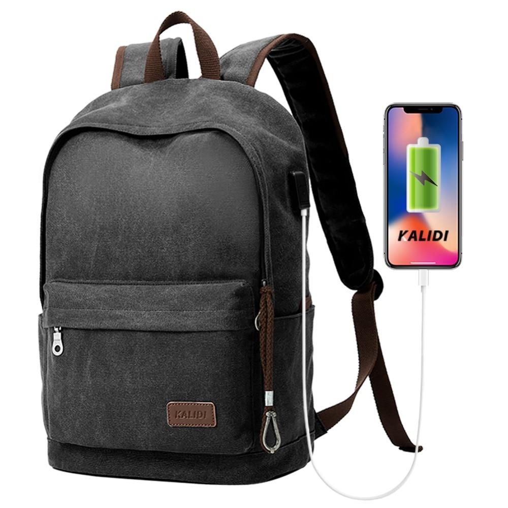 KALIDI Women`s bags Men Canvas Backpacks Usb Charging School Bags For Teenager Boys Girls Travel Laptop Backpacks Lady MochilaKALIDI Women`s bags Men Canvas Backpacks Usb Charging School Bags For Teenager Boys Girls Travel Laptop Backpacks Lady Mochila