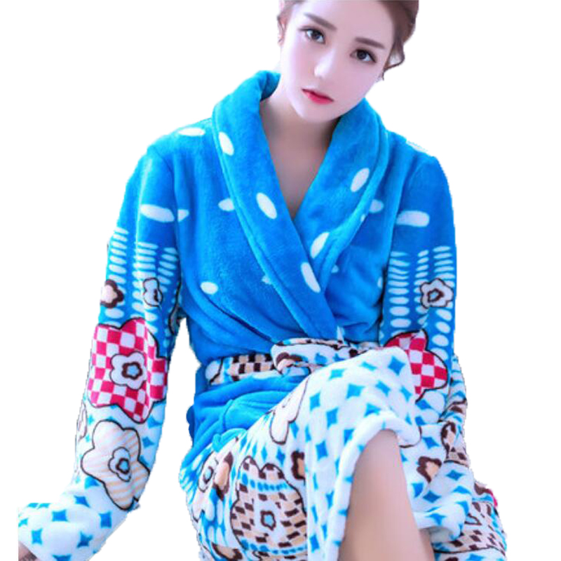 Sexy Long Bathrobe Home Wear Clothes Dressing Gown Women's Bathrobe Coat Female Flannel Nightdress Women Warm Bath Robe Femme