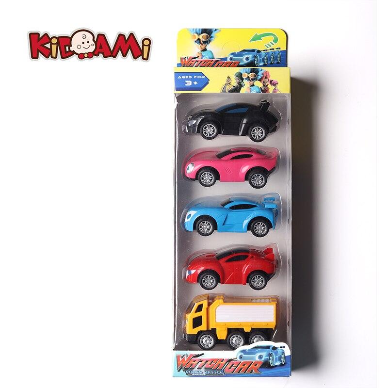 KIDAMI moeda poder 5 pçs/set Relógio caráter brinquedo do carro Puxar para trás Do Carro Brinquedos para as crianças Presentes modelo de carro Em Miniatura машинки carro