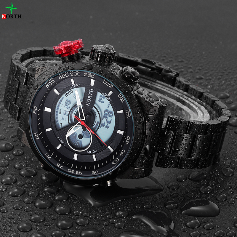 NORTH Relogio Masculino Luxury Brand Men Watches Men's Quartz Hour Army Military Wrist Watch Analog Digital LED Sports Watch Men mance mens sports watches brand new luxury watch outdoor date military analog quartz army wrist watch relogio masculino 2016
