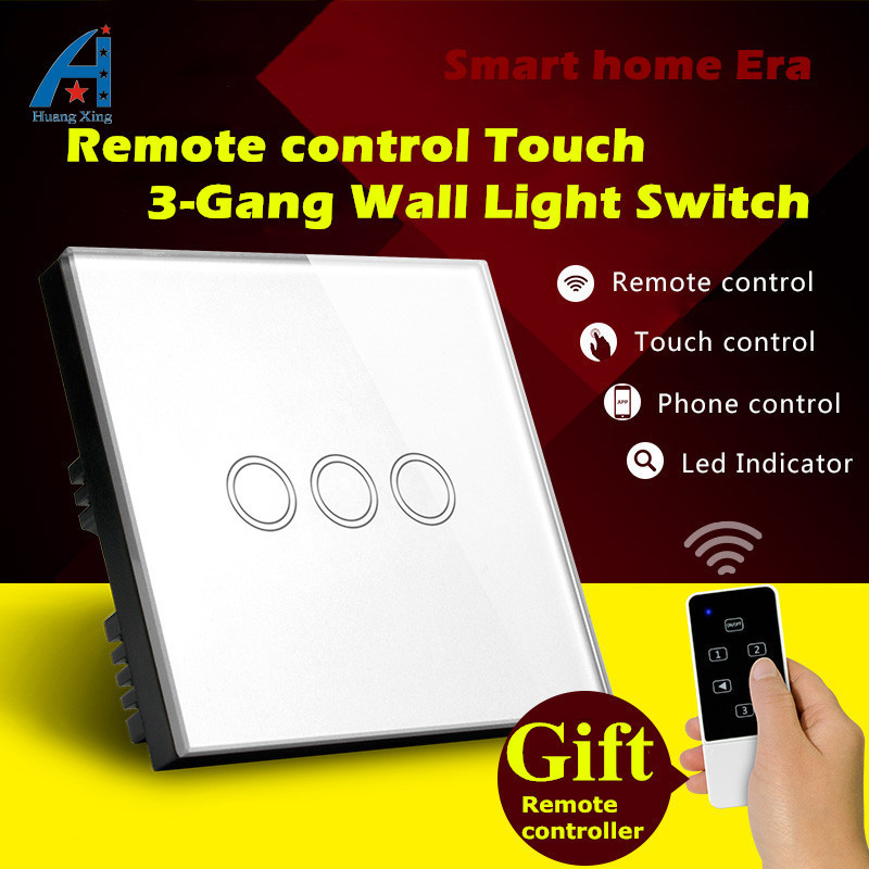 HUANGXING, UK Standard 3Gang Wireless Remote control Touch Light Switch,Tempered glass panel Wall Switch ,Gift Remote controller 2017 smart home crystal glass panel wall switch wireless remote light switch us 1 gang wall light touch switch with controller