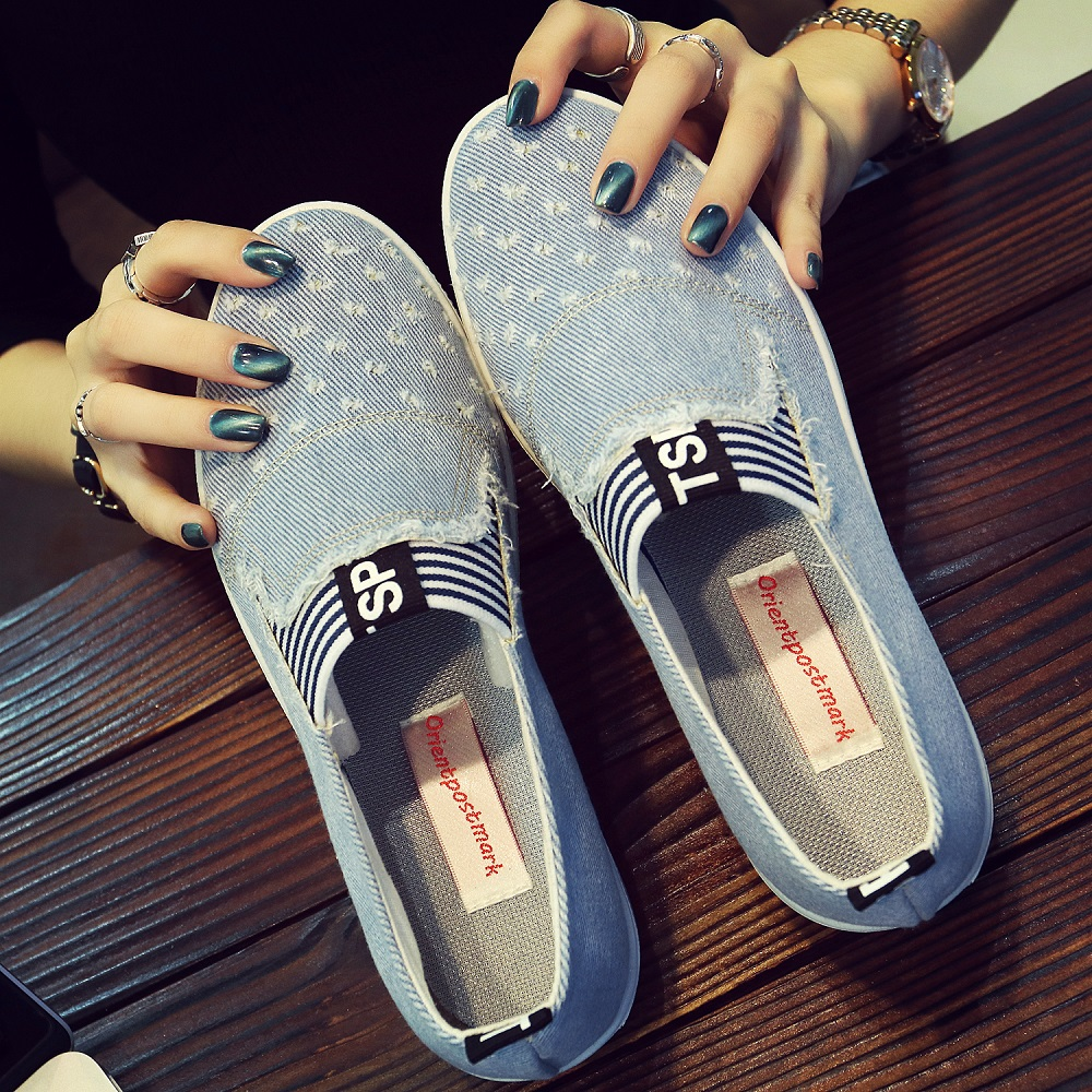 Kualitas tinggi wanita Jeans Sepatu flat Mode Sepatu Denim Kasual Sol Lembut Sepatu Kanvas Siswa Bernapas Orientpostmark