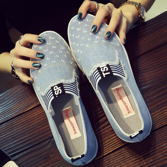 High Quality Womens Jeans Shoes flats Fashion Casual Denim Shoes Soft Soles Students Canvas Shoes Breathable Orientpostmark