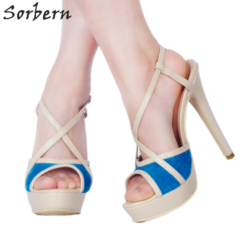 Sorbern Nude Blue Mix Peep Toe Women 2018 Shoes Women Shoes Sandals High Heels Cross Straps Platform Sandals Women Shoes Heels casual women s sandals with platform and cross straps design