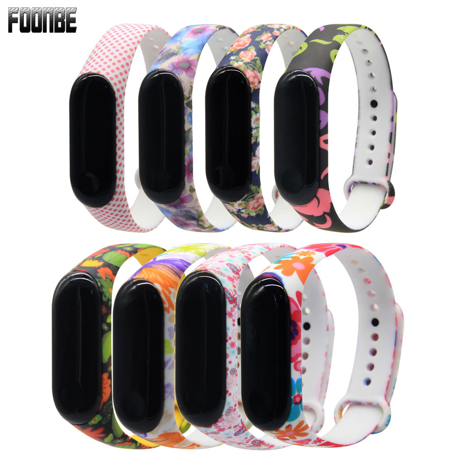 For Miband 3/4 Flower Strap Mi Band 3 4 Accessories Replacement Silicone Varied Wrist Strap For Xiaomi Mi 3 4 Smart Bracelets