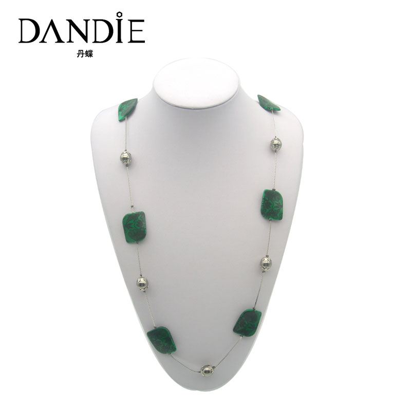 Dandie Green Acrylic Bead With Print Flower Necklace Fashion Costume Necklace Women 39 s Accessory in Chain Necklaces from Jewelry amp Accessories