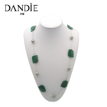 Dandie Green Acrylic Bead With Print Flower Necklace, Fashion Costume Womens Accessory
