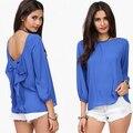 Marca 2015 Mulheres Da Moda Camisa Arco Sem Encosto Mulheres Chiffon Blusas Blusas Feminina Sólidos O Pescoço Chemise Femme Camisas Soltas