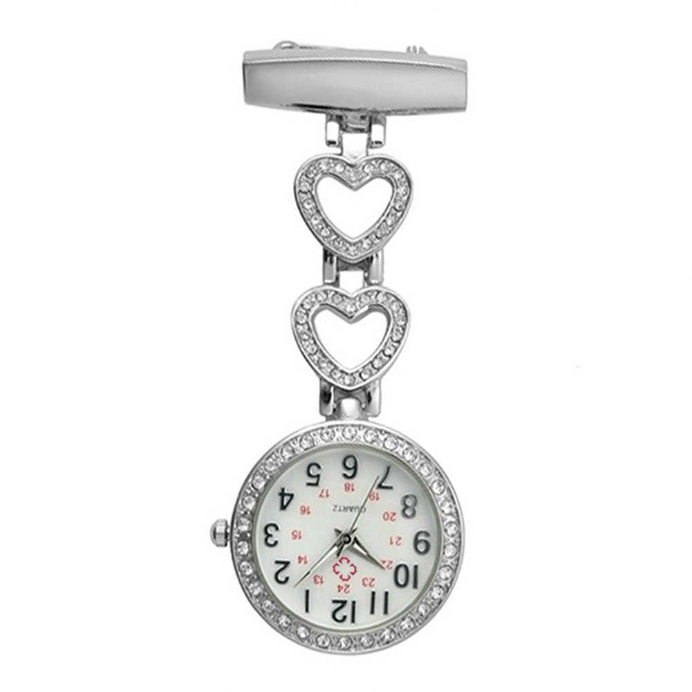 Kobiety mody zegarek kieszonkowy Clip-on serce/naszyjnik z pięcioramienną gwiazdą powiesić zegar kwarcowy dla medycznych lekarz pielęgniarka zegarki AI