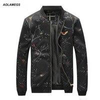 Aolamegs Casual Jacket Men European American Fashion Style Mens Baseball Jackets Print Leisure Outwear Autumn Coat