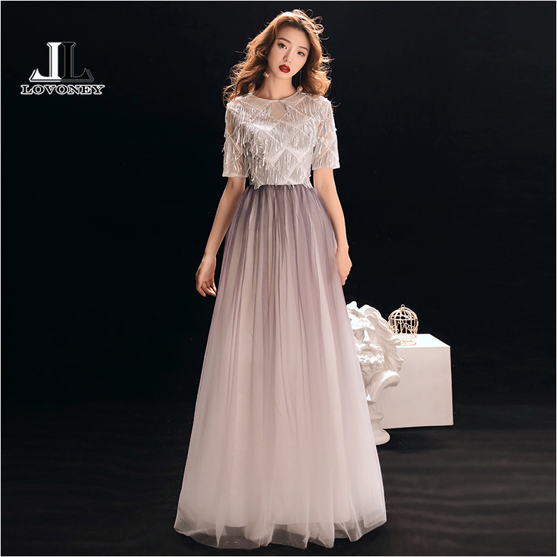 LOVONEY Elegant Short Sleeves   Evening     Dresses   Long Formal   Dress   Woman Occasion Party   Dresses     Evening   Gown Robe De Soiree XYG833