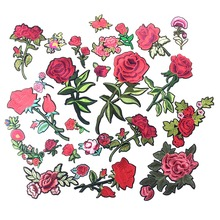 Embroidered Iron On Rose Flower Patches For Clothing Appliques For Garment Iron On Transfers Stickers DIY Sewing Badge For Jeans(China)