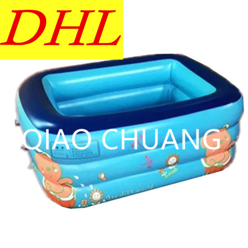 Baby Bath Bucket Three-Tier Rectangle Household Inflatable Bath Tub Children Swimming Pool PVC Thicken G1000