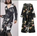 2017 Fashion Vestidos Flower Crane Print Maxi Cardigan Long Women Long Dresses Tied Vintage Casual V Neck Long Sleeve Dresses