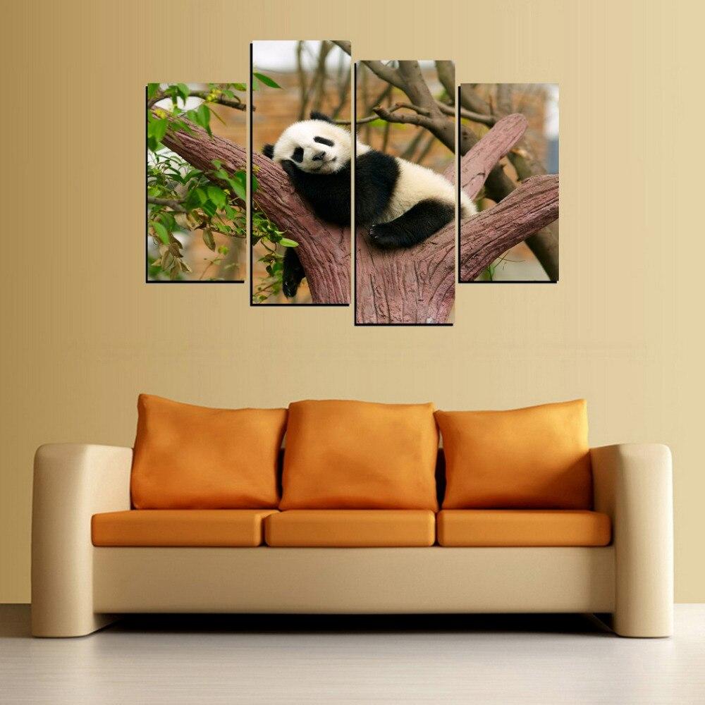 Poster Canvas Painting HD Wall Art 4 Panels Panda In Sleep Modern ...