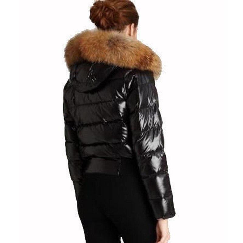 Femmes Veste D'hiver Manteau Réel Fourrure De Raton Laveur Capuche Manteau Épaissir Vêtement Veste Chaude Noir Grande Taille Veste