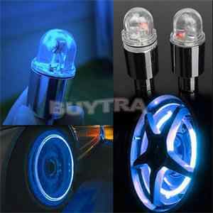 2PCS/Set Red Blue Bike Bicyclea Durable Car Wheel Tire Valve Caps Neon Lamp Bicycle Light Bike Accessories