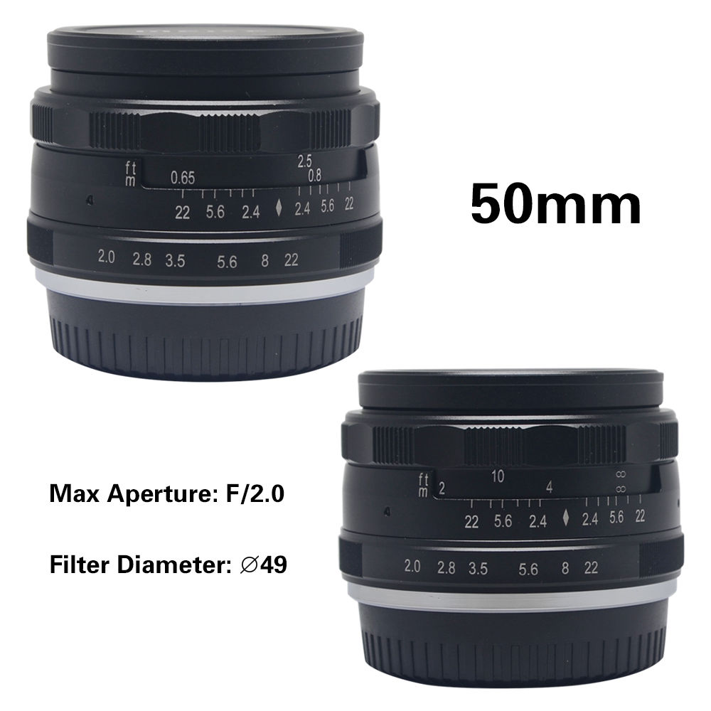 50mm F2.0 Aperture Manual Focus Lens APS-C for Fujifilm X-A1 X-A2 X-E1 X-E2 X-E2S X-M1 X-T1 X-T10 X- Pro1 X-Pro2 camera x