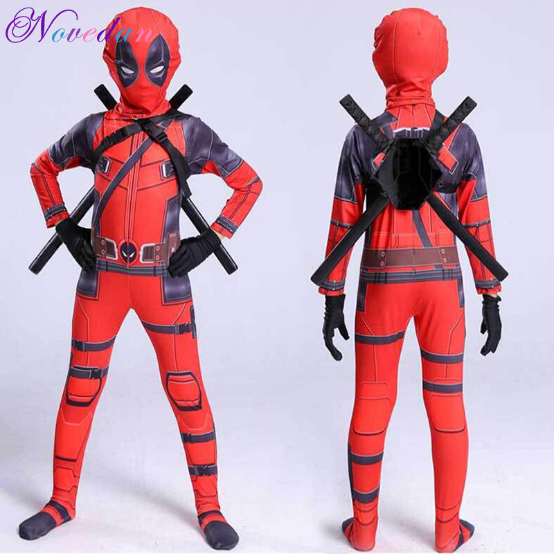 Adult Superhero Deadpool Costume Movie Cosplay For Kids Child Boys Jumpsuits with Mask Carnival Avengers Men High Quality