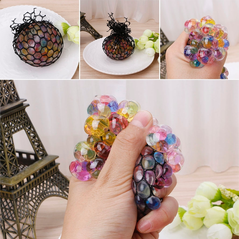 Top Quality Rubber Grape Ball Black Mesh Squeeze Toy Stress Autism Mood Relief Gadget