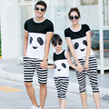 2017 summer family look madre padre hija hijo ropa clothing set panda t-shirt + pants mommy and me ropa