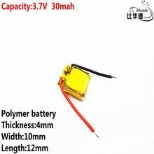 Batería de polímero de litio de 3,7 v de buena calidad, batería de energía de 30mah, 401012 mah, compatible con auriculares I7 bluetooth, MP3 y MP4