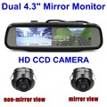 DIYKIT Duplo 4.3 polegada de Tela Espelho Retrovisor Monitor Do Carro com 2 x CCD Car Câmara de Visão Traseira para Rear/Frente/Side View Camera