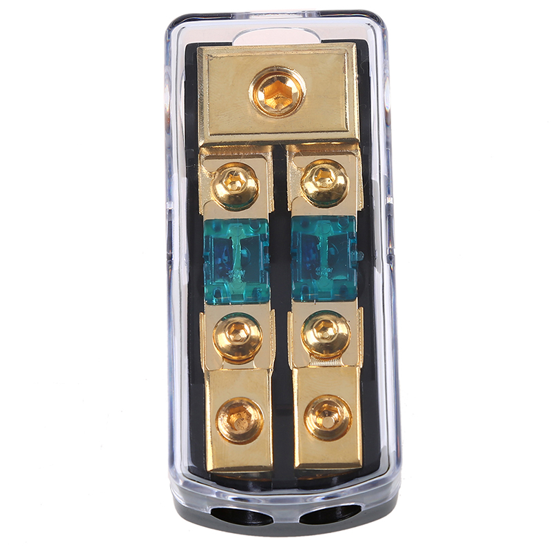 ABS Plastic+ Zinc Alloy Surface Gold Plating Dustproof Waterproof 60A Two-Way Fuse Holder + Safety Plate Car Fuse Holder Box
