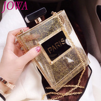 Women Fashion Shoulder Clutch 2018 New Design Socialite Mini Evening Bag Night Black Purse Wedding Party Perfume Bottle Handbags